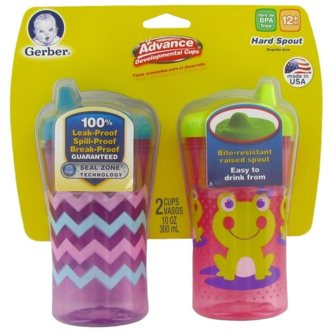 NUK Gerber Graduates Advance Developmental Hard Spout Cups - 2 Pack - Zig Zag/Frog - Purple