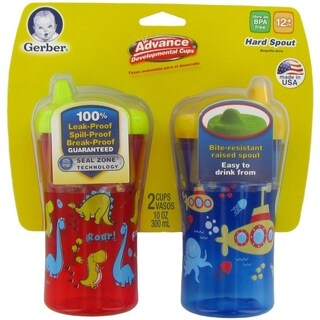 NUK Gerber Graduates Advance Developmental Hard Spout Cups - 2 Pack - Dino/Sub - Red