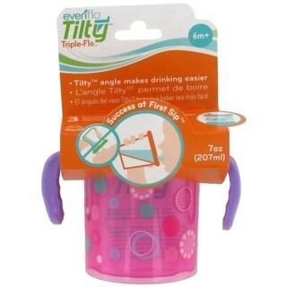 Evenflo Tilty Triple Flo Trainer Cup - 7 Ounce - 1 Pack - Circles Dots Purple-Pink - Purple