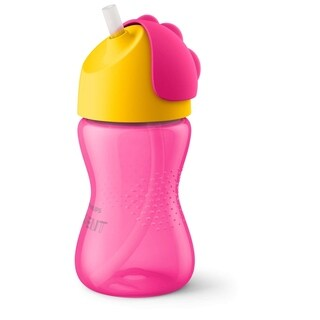Philips Avent My Bendy Straw Cup - 10 Ounce - Pink/Yellow - Pink