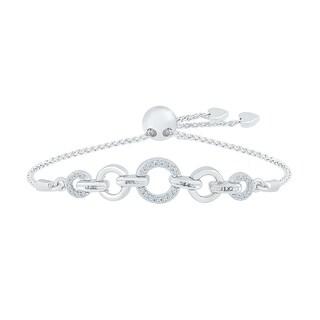 10 KT White Gold White Round Diamond Fashion Adjustable Bolo Bracelet (0.25 CTTW)