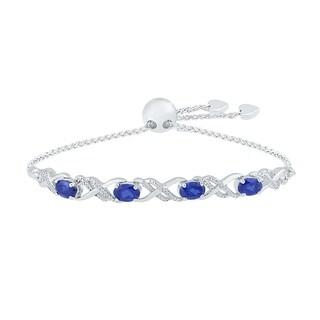 925 Sterling Silver White Round Diamond & Oval Blue Sapphire Fashion Adjustable Bolo Bracelet