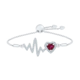 925 Sterling Silver White Round Sapphire & Heart Red Ruby Heart Adjustable Bolo Bracelet