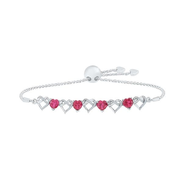 Ruby sterling silver bracelet adjustable