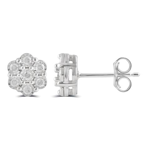 Divina Sterling Silver 1/3ct TDW Diamond Cluster Stud Earring
