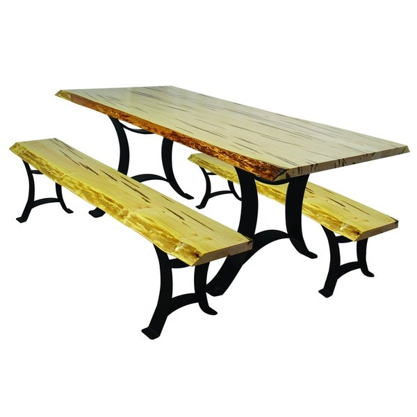 Wormy Maple Dining Set, Table And Benches With Golden Gate Base
