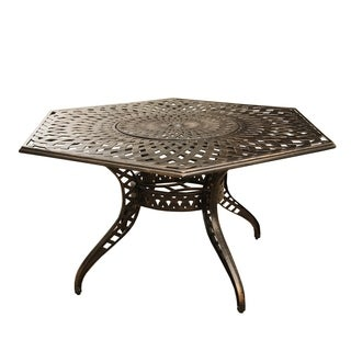 Outdoor Lattice 63 inch Bronze Hexagon Dining Table with Lazy Susan