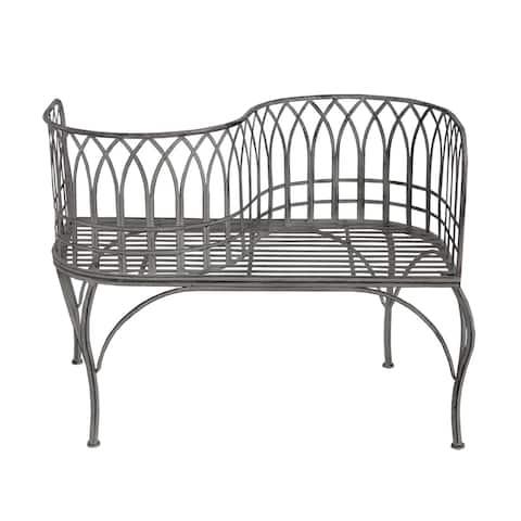 Outdoor Patio Garden Park Curved Unique Bench in Grey