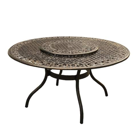 Outdoor Mesh Lattice 59 inch Bronze Round Dining Table with Lazy Susan