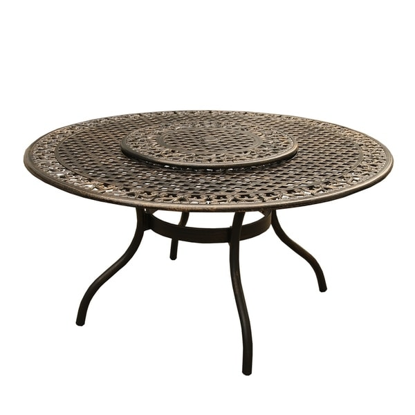Shop Outdoor Mesh Lattice 59 Inch Bronze Round Dining Table With