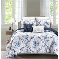 Cape Anne Blue 5 Piece Reversible Comforter Set By Blissful Living