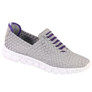 Zee Alexis Women's Danielle Woven Athletic Shoe Grey Purple