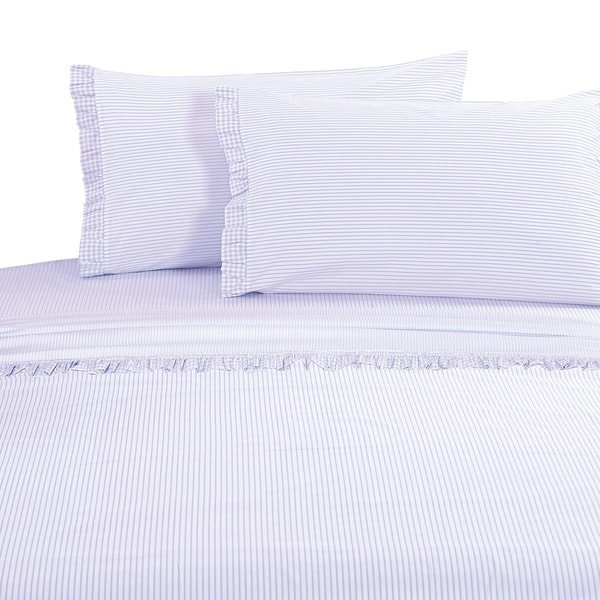 Percale Cotton Gingham Ruffle Crisp Sheet Set Purple On Free Shipping Today 20534655