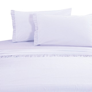 Percale Cotton Gingham Ruffle Crisp Sheet Set Purple
