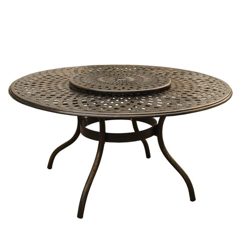 Gracewood Hollow Panarello Outdoor Mesh Lattice 59 inch Bronze Round Dining Table with Lazy Susan