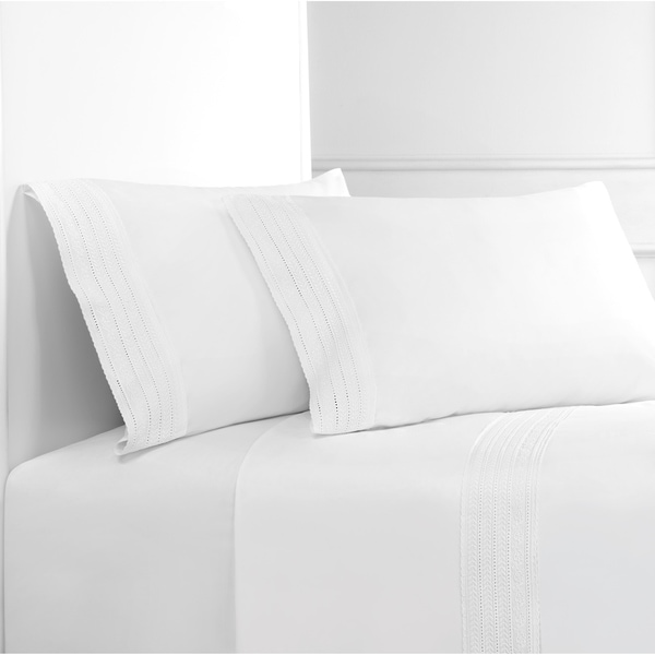 Percale Cotton Elizabeth Lace Embroidered Crisp Sheet Set