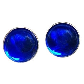 Handmade Recycled Vintage Cobalt Face Cream Jar Sterling Silver Post Earrings (United States)