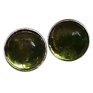 Handmade Early 1900's Olive Green Wine Bottle Sterling Silver Post Earrings (India)