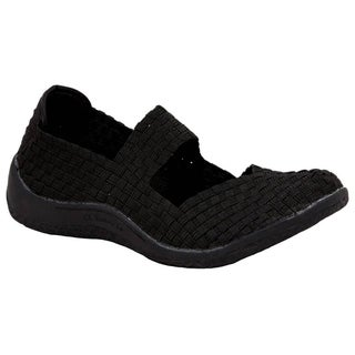 Zee Alexis Women's Sammi Woven Mary Jane Shoe Black Metallic
