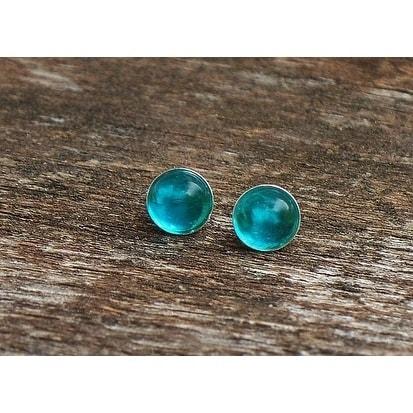 Handmade Recycled Vintage Aquamarine Mason Jar Sterling Silver Post Earrings United States