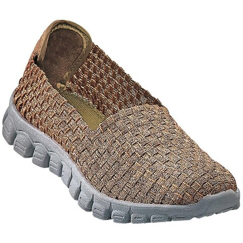 Zee Alexis Women's Stella Woven Slip On Shoe Pewter Bronze