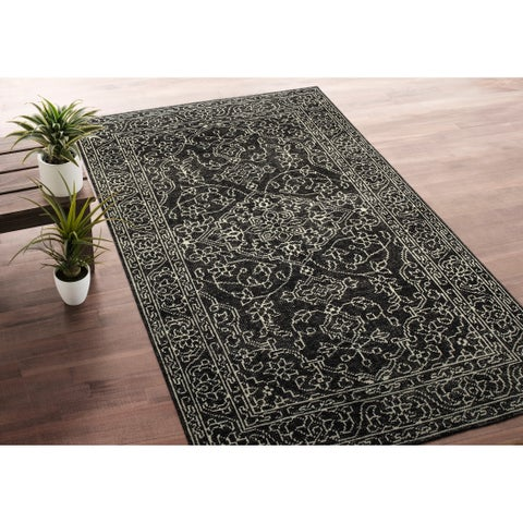 Hand-Knotted Zion Charcoal Wool Rug - 2' x 3'