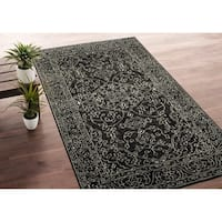 Hand-Knotted Zion Charcoal Wool Rug - 8' x 10'