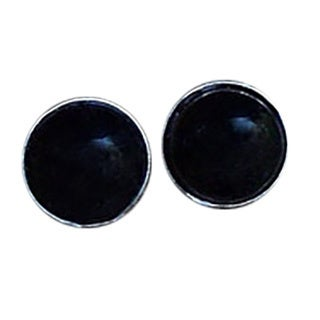 Recycled Antique Black Depression Glass Sterling Silver Post Earrings