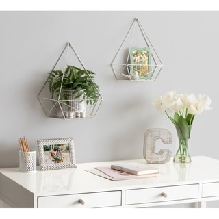 Kate and Laurel Prouve Metal Wall Shelves 2 pc set