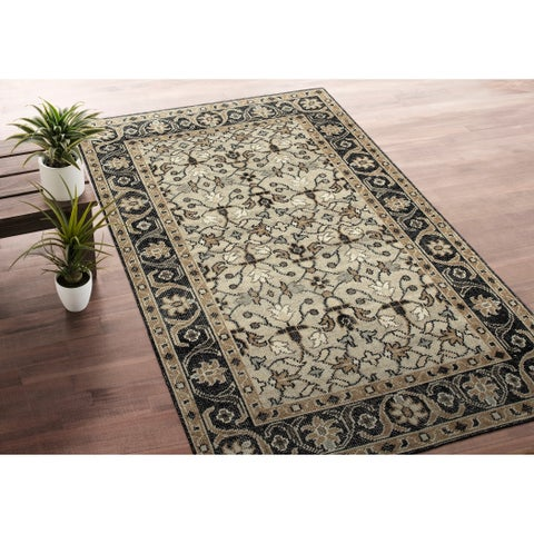 Hand-Knotted Zion Oatmeal Wool Rug - 9' x 12'