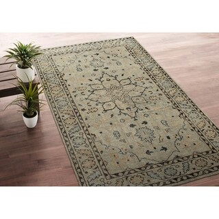 Hand-Knotted Zion Pewter Green Wool Rug - 8' x 10'