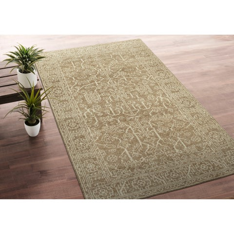 Hand-Knotted Zion Khaki Wool Rug - 9' x 12'