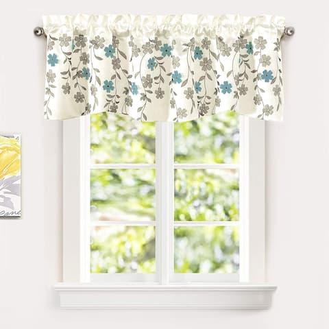 Porch & Den Oneida Floral Embroidered Faux Silk Kitchen Swag Valance