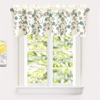 Link to Porch & Den Oneida Floral Embroidered Faux Silk Kitchen Swag Valance Similar Items in Window Treatments
