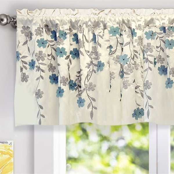 Beau DriftAway Isabella Faux Silk Embroidered Kitchen Swag Valance