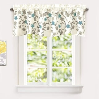 DriftAway Isabella Faux Silk Embroidered Crafted Flower Kitchen Swag Valance