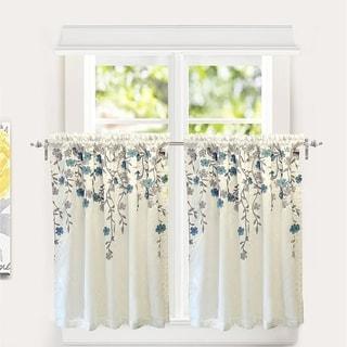 Porch & Den Oneida Floral Embroidered Faux Silk Kitchen Tier Pair