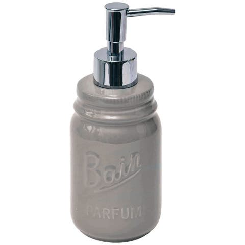 Evideco Mason Jar Collection Bathroom Soap and Lotion Dispenser Taupe