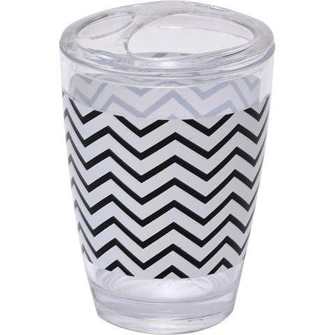 Evideco Zigzag Bathroom Printed Toothbrush and Toothpaste Holder - Black And White - 2.95 L x 2.95 W x 4.52 H