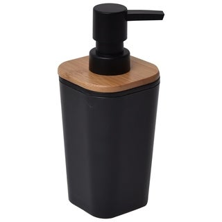 Evideco Collection Phuket Bathroom Square Soap Dispenser Black/Bamboo