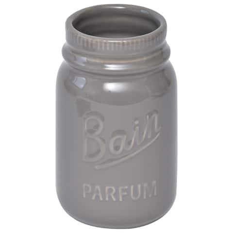 Evideco Mason Jar Collection Bathroom Stoneware Tumbler Taupe