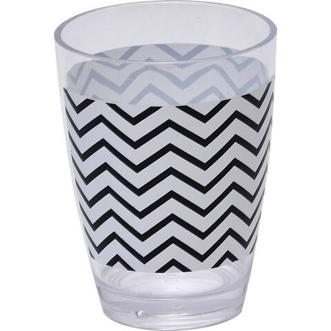 Evideco Zigzag Clear Acrylic Printed Bathroom Tumbler - Black And White - 2.95 L x 2.95 W x 4.13 H