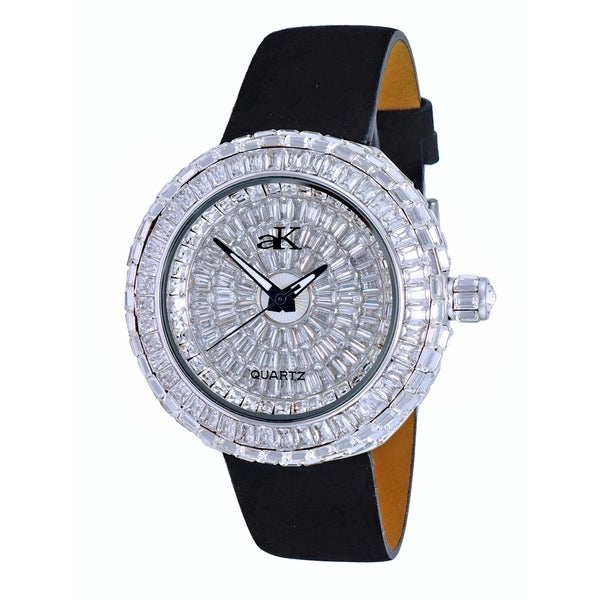 Adee Kaye Womens Round Rhodium Plated Crystal Watch-Silver tone