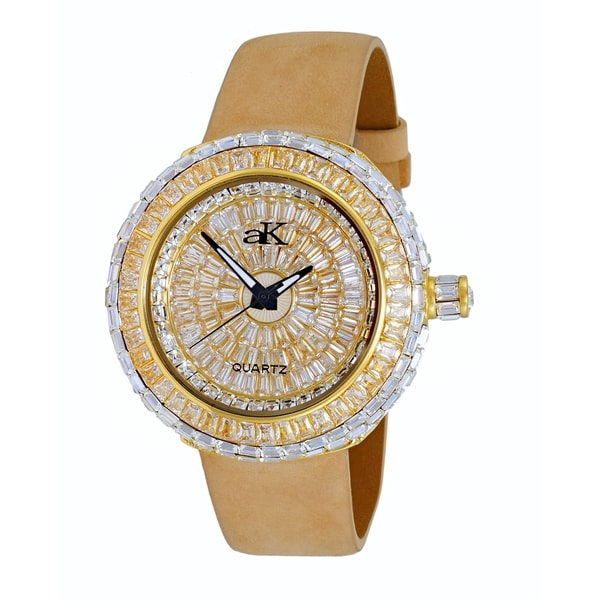 Adee Kaye Womens Round Gold Tone Plated Crystal Watch-Gold tone