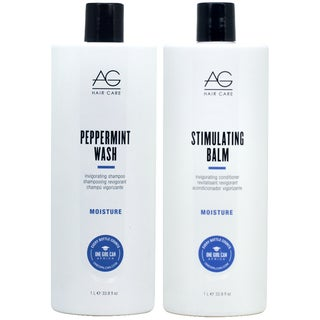AG Hair Peppermint Wash 33.8-ounce Shampoo & Stimulating Balm Conditioner Duo