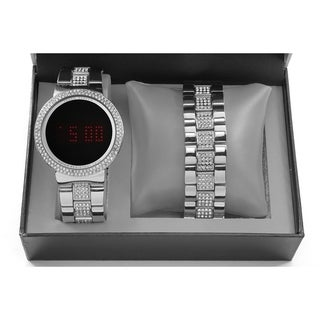 Charles Raymond Men's/Unisex Iced Out Bling Silver Metal Touch Screen Watch With Matching Iced Out Silver Bracelet - 8166 Silver