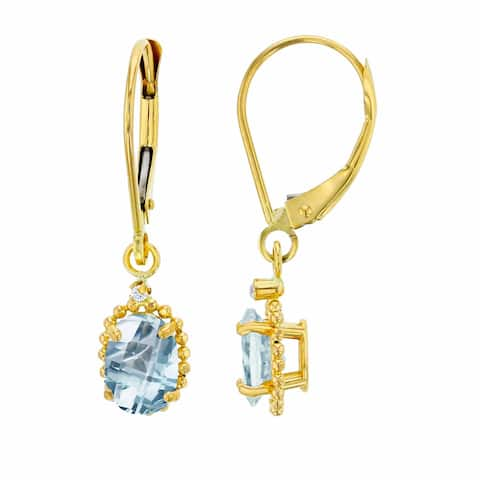 14K Yellow Gold 1.25mm Round Created White Sapphire & 6x4mm Oval Aquamarine Bead Frame Drop Leverback Earring
