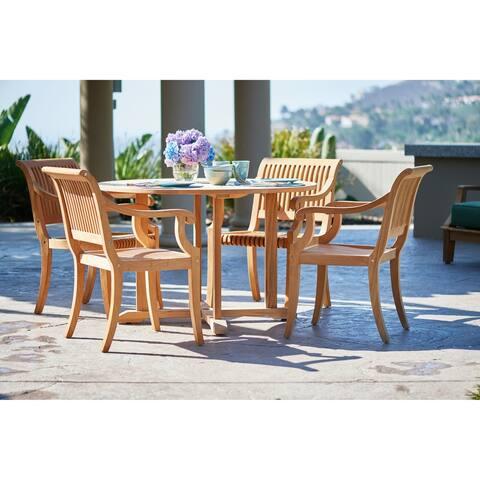 Palm 5-Piece Teak Round Table Outdoor Dining Set