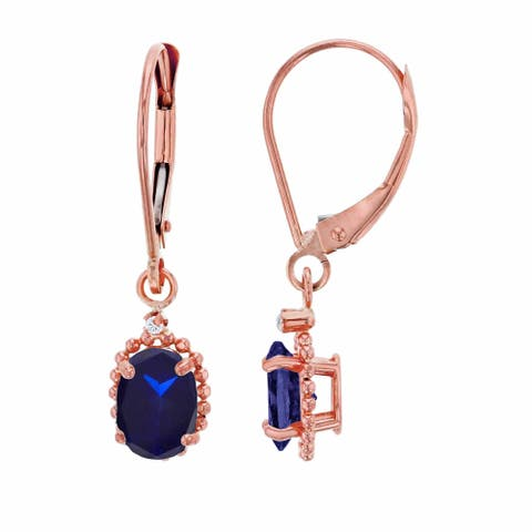 10K Rose Gold 1.25mm Round White Topaz & 6x4mm Oval Created Blue Sapphire Bead Frame Drop Leverback Earring