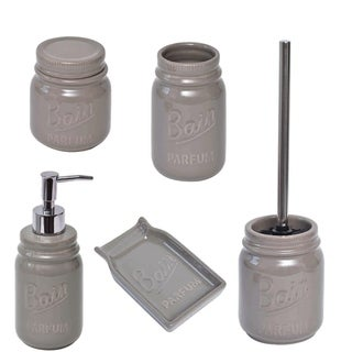 Evideco Mason Jar Collection Bathroom Accessory Set 5-Pieces Taupe